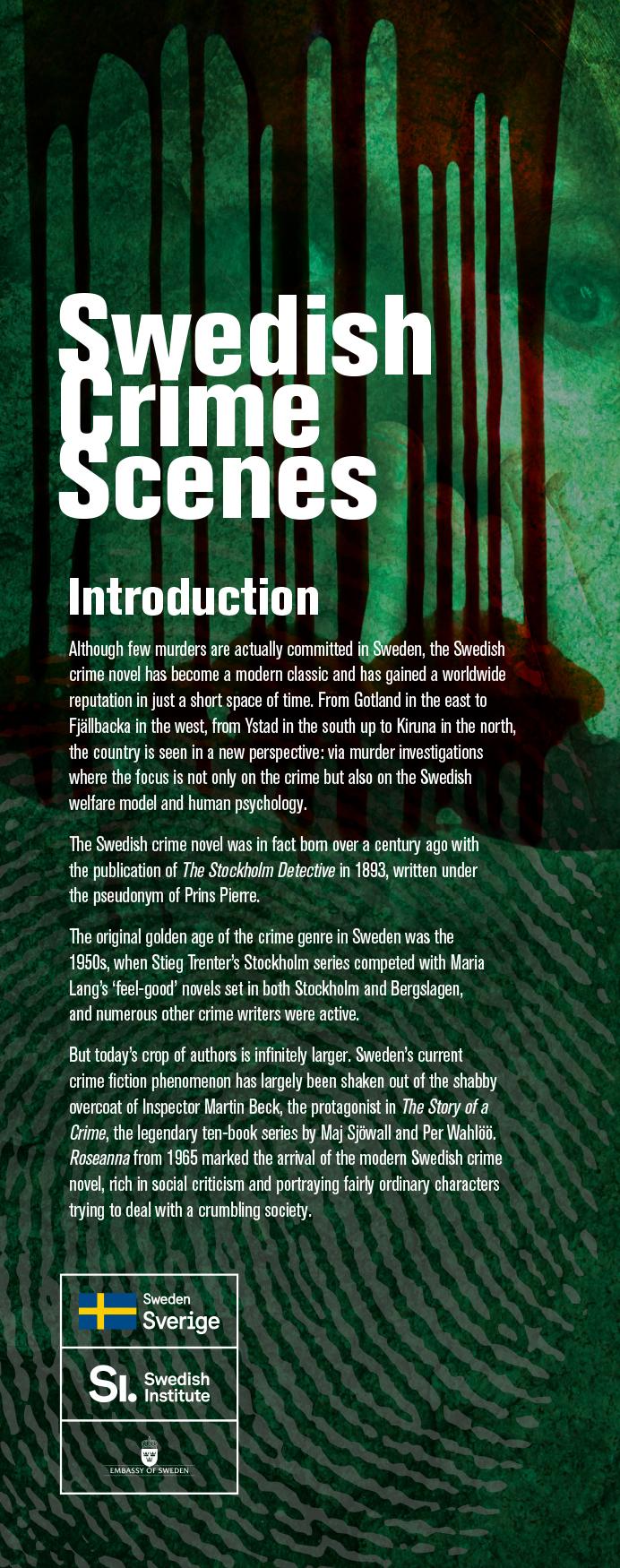 Swedish Crime Scenes Exhibition. Intro Banner.